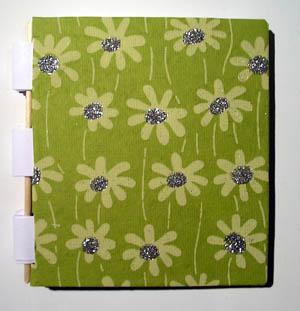 Notizbuch_klein_Glitterblume grün